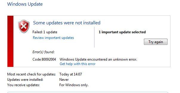 Imagen - La actualización KB3038314 de Windows 7 da un error 80092004