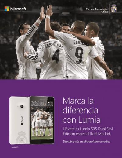 Imagen - Microsoft Lumia 535 Dual SIM Real Madrid, una edición especial para los aficionados