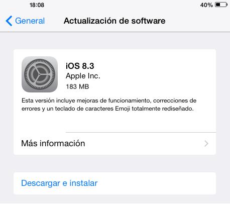 Imagen - iOS 8.3 ya está disponible con gran cantidad de correcciones