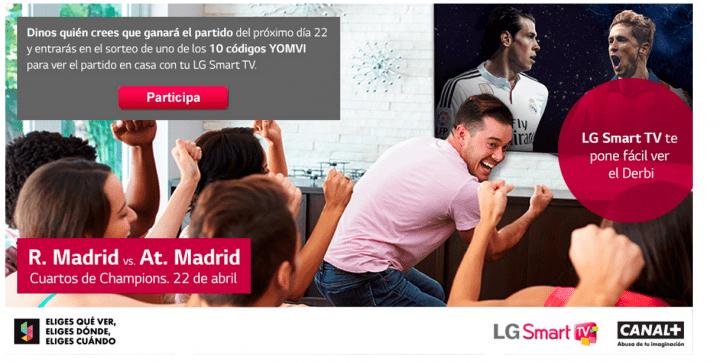 LG regala códigos de Yomvi para ver Real Madrid vs Atlético de Madrid gratis