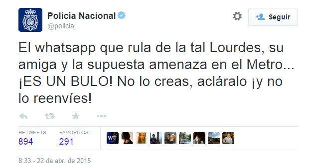 Imagen - Difunden una amenaza terrorista del Metro de Madrid en WhatsApp