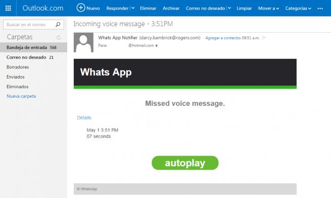Imagen - Un falso mensaje de voz de WhatsApp llega por email
