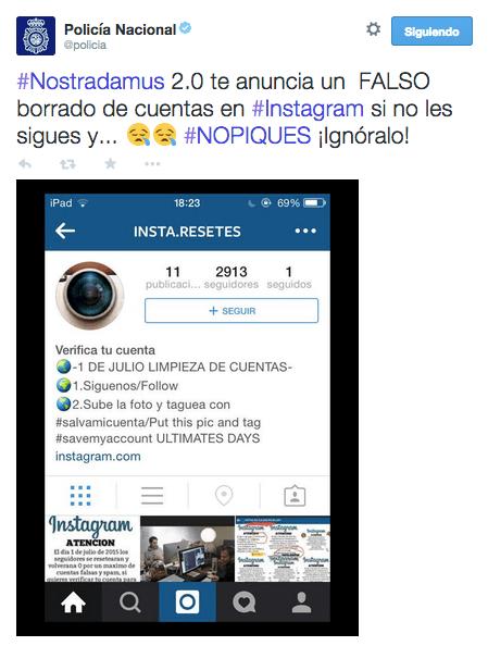 Imagen - Bulo: Instagram borrará cuentas si no los sigues