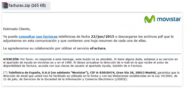 Imagen - Una falsa factura de Movistar llega por email y te infecta con un virus