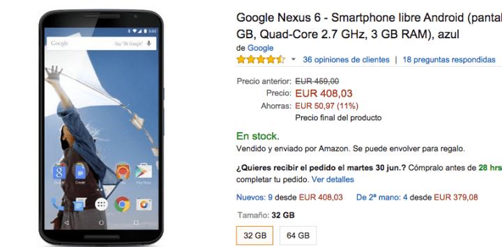 Imagen - Compra el Nexus 6 en oferta por 408 euros en Amazon