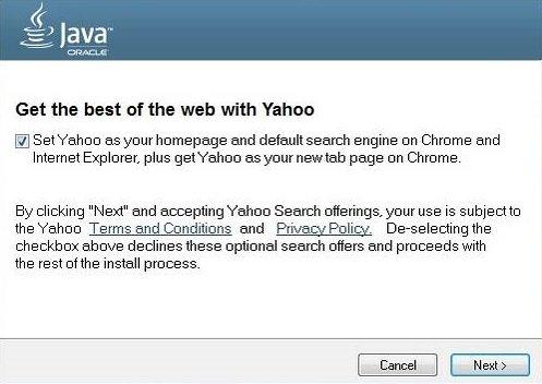 Imagen - Yahoo! se convierte el buscador por defecto al instalar Java