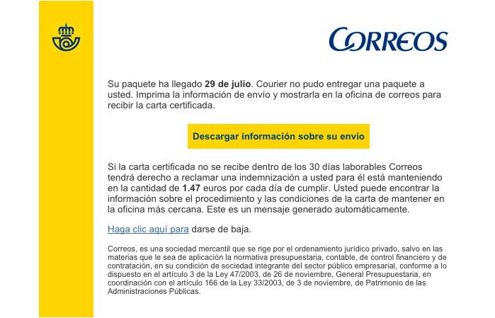 Imagen - Cuidado con los emails de phishing de Correos