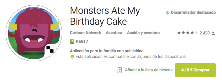 Imagen - Descarga Monsters Ate My Birthday Cake, la app gratis de esta semana en Google Play