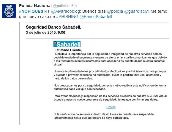 Imagen - La Policía alerta sobre un falso email del Banco Sabadell
