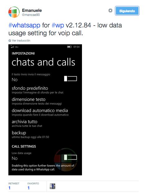 Imagen - WhatsApp ya permite reducir el consumo de llamadas en Windows Phone