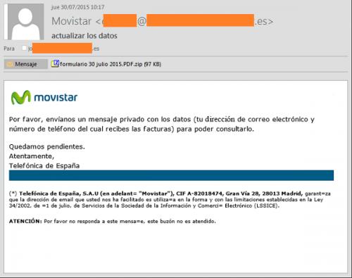 Imagen - Nuevo envío de malware simulando correos de Movistar