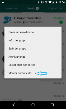 Imagen - Cómo marcar como no leído en WhatsApp
