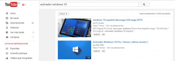 Imagen - YouTube se llena de vídeos para activar Windows 10