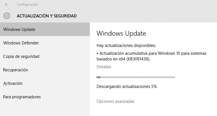 Imagen - La actualización KB3081438 para Windows 10 falla al 75%