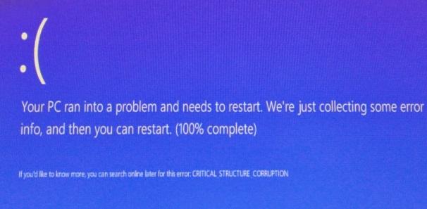 Imagen - Solucionar el error CRITICAL STRUCTURE CORRUPTION en Windows 10