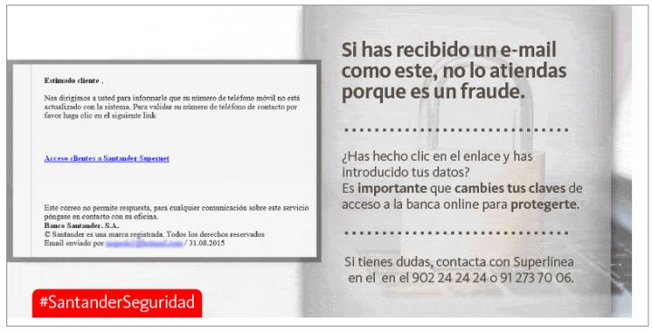 Imagen - Santander avisa sobre correos fraudulentos donde piden nuestros datos