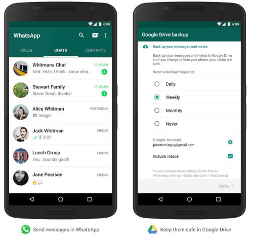 Imagen - Google anuncia copia de seguridad de WhatsApp en Drive
