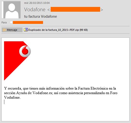 Imagen - Falsa factura de Vodafone contiene malware