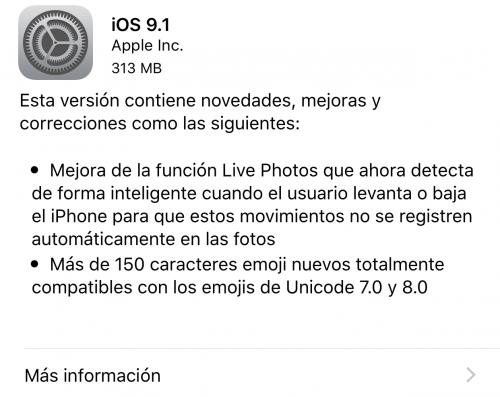 Imagen - Descarga iOS 9.1: nuevos emojis y Live Photos mejoradas