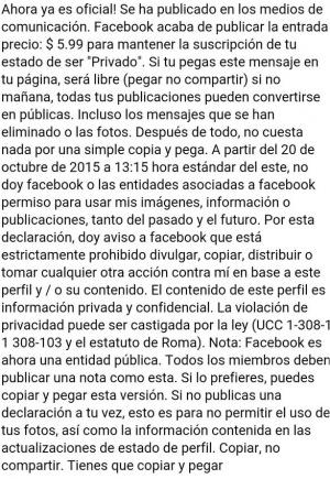 Imagen - Facebook hará publica toda tu información: nuevo bulo