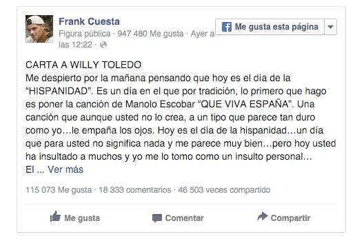 Imagen - Frank Cuesta y Soldado responden a Willy Toledo