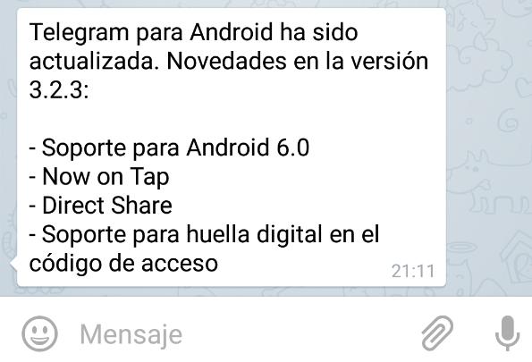 Imagen - Telegram se actualiza para Android 6.0 Marshmallow