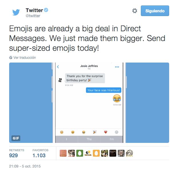 Imagen - Twitter ya permite enviar emojis gigantes mediante mensajes directos