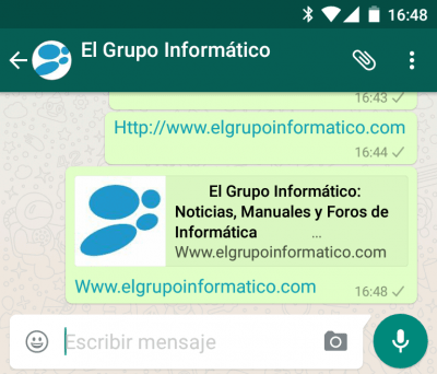 Imagen - Descarga WhatsApp 2.12.309 con vista previa de enlaces