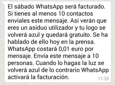 Imagen - Se extiende una cadena sobre que WhatsApp cobrará 0,01 euro por mensaje