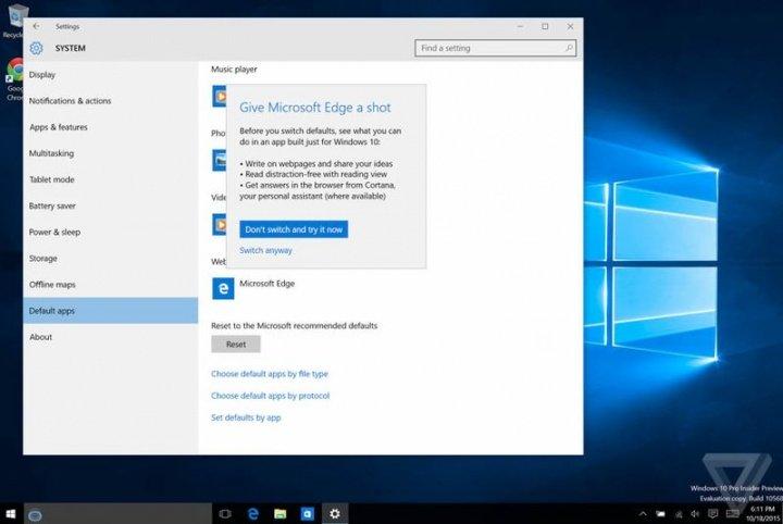 Imagen - Windows 10 podría dificultar más cambiar de navegador