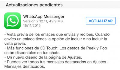 Imagen - Descarga WhatsApp 2.12.11 para iOS con 3D Touch y vista previa