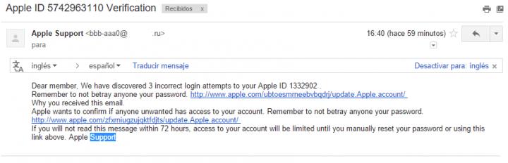 Imagen - Circulan correos fraudulentos de Apple sobre un ataque a tu cuenta