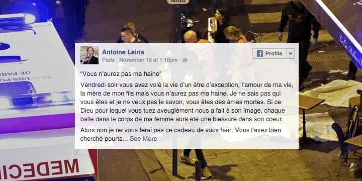 Un hombre desafía a los terroristas que asesinaron a su mujer en París y se hace viral