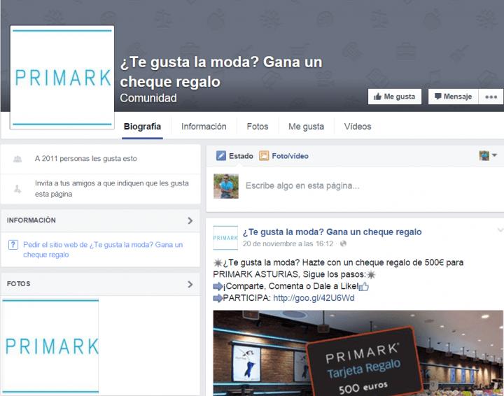 Imagen - Nueva estafa en Facebook: Primark no regala 500 euros