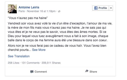 Imagen - Un hombre desafía a los terroristas que asesinaron a su mujer en París y se hace viral