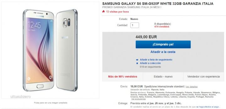 Imagen - Oferta: Samsung Galaxy S6 por 450 euros