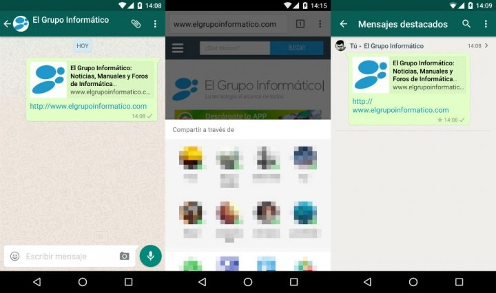 """Imagen - Descarga WhatsApp 2.12.367 desde Google Play con mensajes destacados y """"compartir directo"""""""