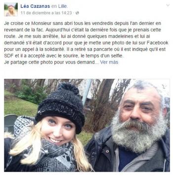Imagen - Se hace famosa por compartir un selfie con un indigente en Facebook