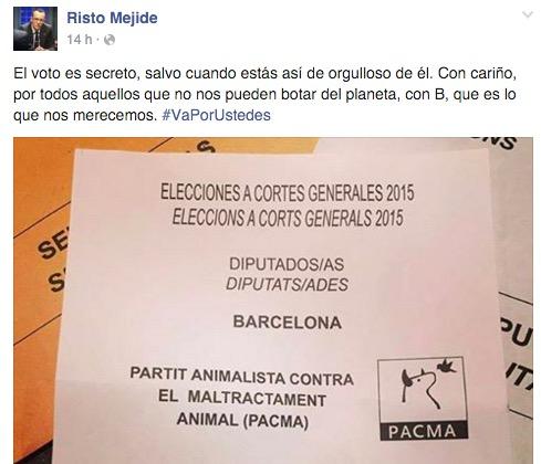 Imagen - Risto Mejide enseña su voto en Facebook