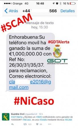 Imagen - Cuidado con la estafa de 1.000.000 de euros que llega por SMS
