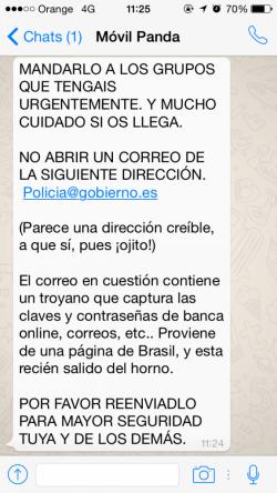Imagen - Cuidado con los WhatsApps y correos de la Policía