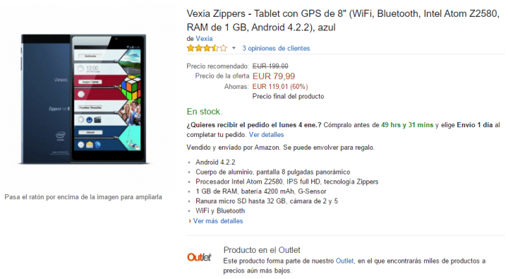 Imagen - Vexia Zippers Tab i8, un tablet de 8 pulgadas por 79 euros