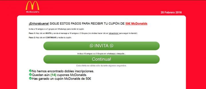 Imagen - Cuidado con el vale para McDonald's que circula por WhatsApp