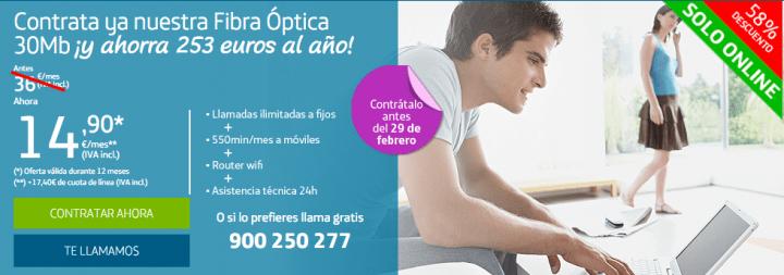 Imagen - Movistar ofrece Fibra 30 Mb por solo 33 euros hasta el 29 de febrero