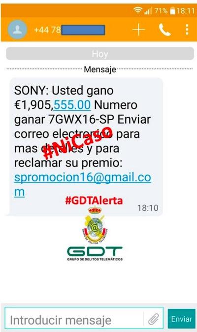 Imagen - ¿Recibes un SMS de Sony notificándote un premio de 1.905.555€? Es una estafa