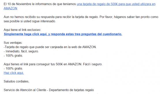 Imagen - Cuidado con los correos que regalan 500 euros en Amazon