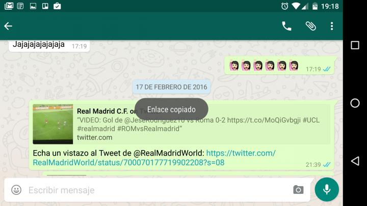Imagen - WhatsApp 2.12.486 añade la pestaña enlaces y mejoras en la limpieza de mensajes de chats