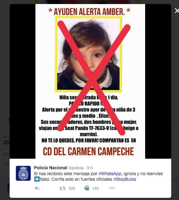 Imagen - Nuevo bulo sobre una niña secuestrada circula por WhatsApp