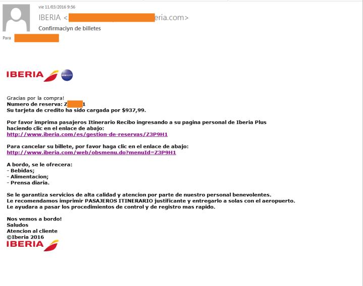 Imagen - Cuidado con falsos correos de Iberia ¡son phishing!