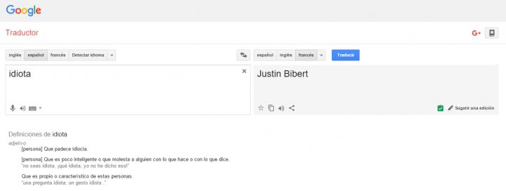 """Imagen - Google Traductor traduce """"idiota"""" al francés como """"Justin Bibert"""""""